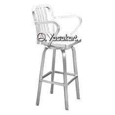 Picture of 169 Brushed Aluminum Swivel Navy Barstool