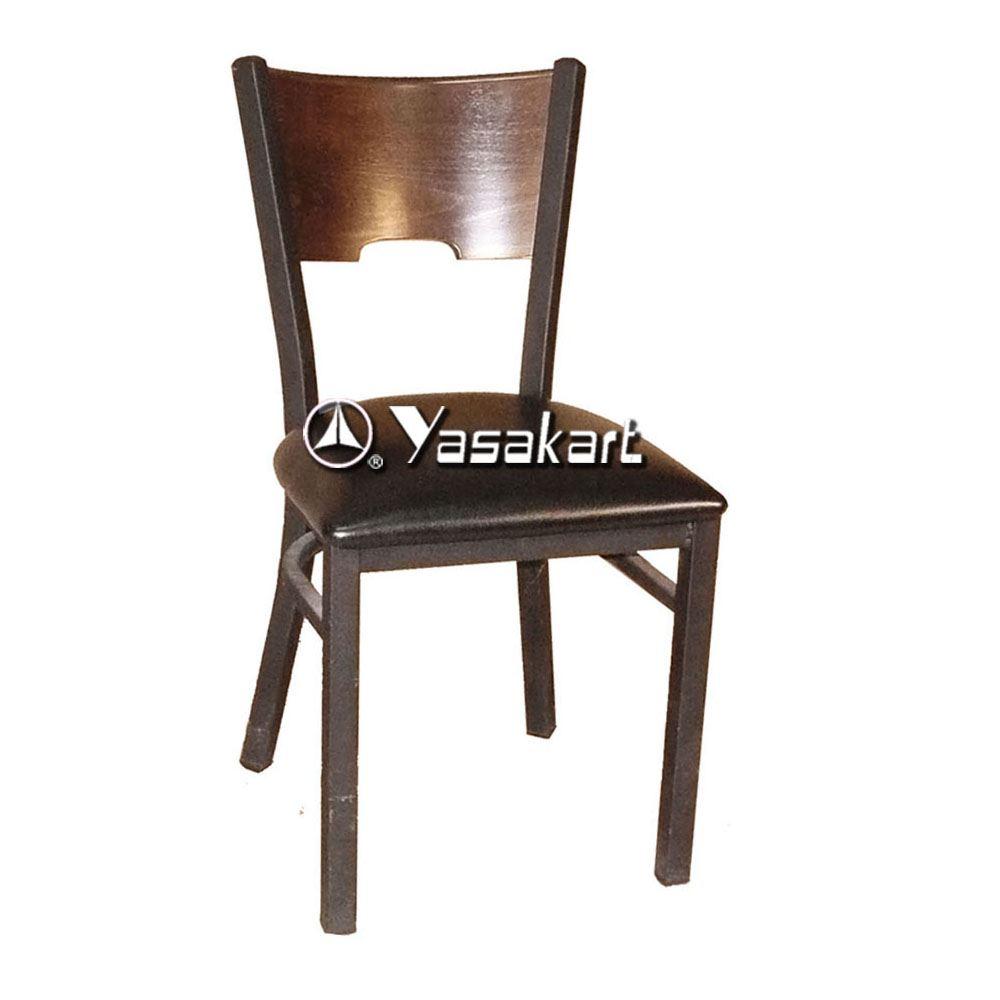 Standard chair 077 metal frame wood side chair walnut restaurant furniture supply yasakart Metal frame furniture