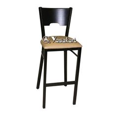 Picture of 077 Metal Frame Wood Barstool (BLACK)