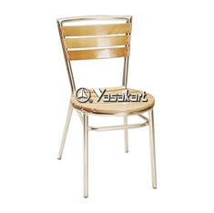 Picture of 159N Indoor Aluminum Frame and BeechWood Slats Side Chair (natural Finish)