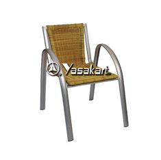 Picture of 164 Aluminum and Black Wicker Stacking Arm Chair