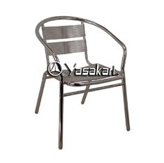 Picture of 162 Single Tube Brushed Aluminum Navy Arm Chair