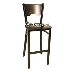 Picture of 077 Metal Frame Wood Barstool (Walnut)