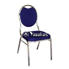 Picture of 130 Tear drop Stacking chair w. Blue pattern