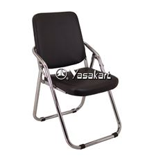 Picture of 144 Visitor Arm Casters Titanium Stacking Chair,Black Vinyl