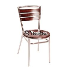 Picture of 159M Indoor Aluminum Frame and BeechWood Slats Side Chair (Mahogany Finish)