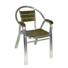 Picture of 160W Indoor Aluminum Frame and BeechWood Slats Arm Chair(Walnut Finish)
