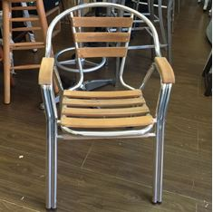 Picture of 180TN Outdoor Aluminum Frame and Teak Slats Arm Chair