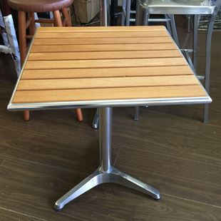 Standard Chair SAWTN OUTDOOR Aluminum Frame And Teak Slats Table - Teak and aluminium outdoor table