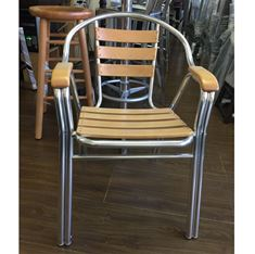 Picture of 160N Indoor Aluminum Frame and BeechWood Slats Arm Chair(Natural Finish)